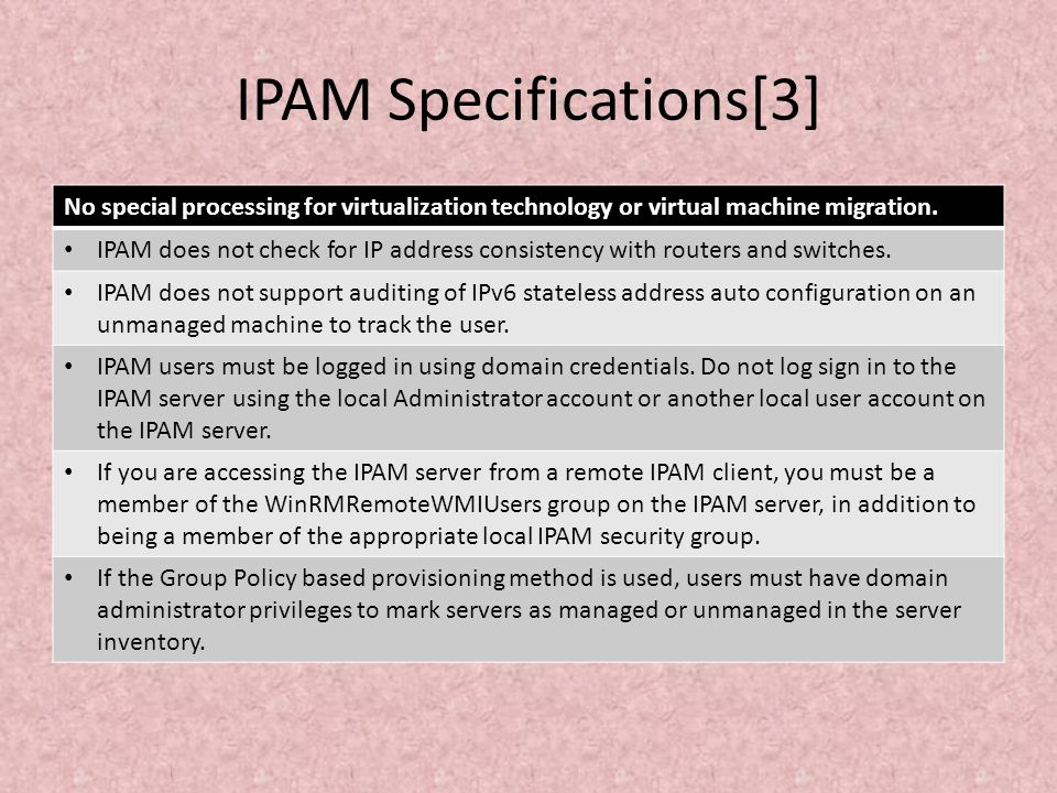 IPAM Specifications[3]